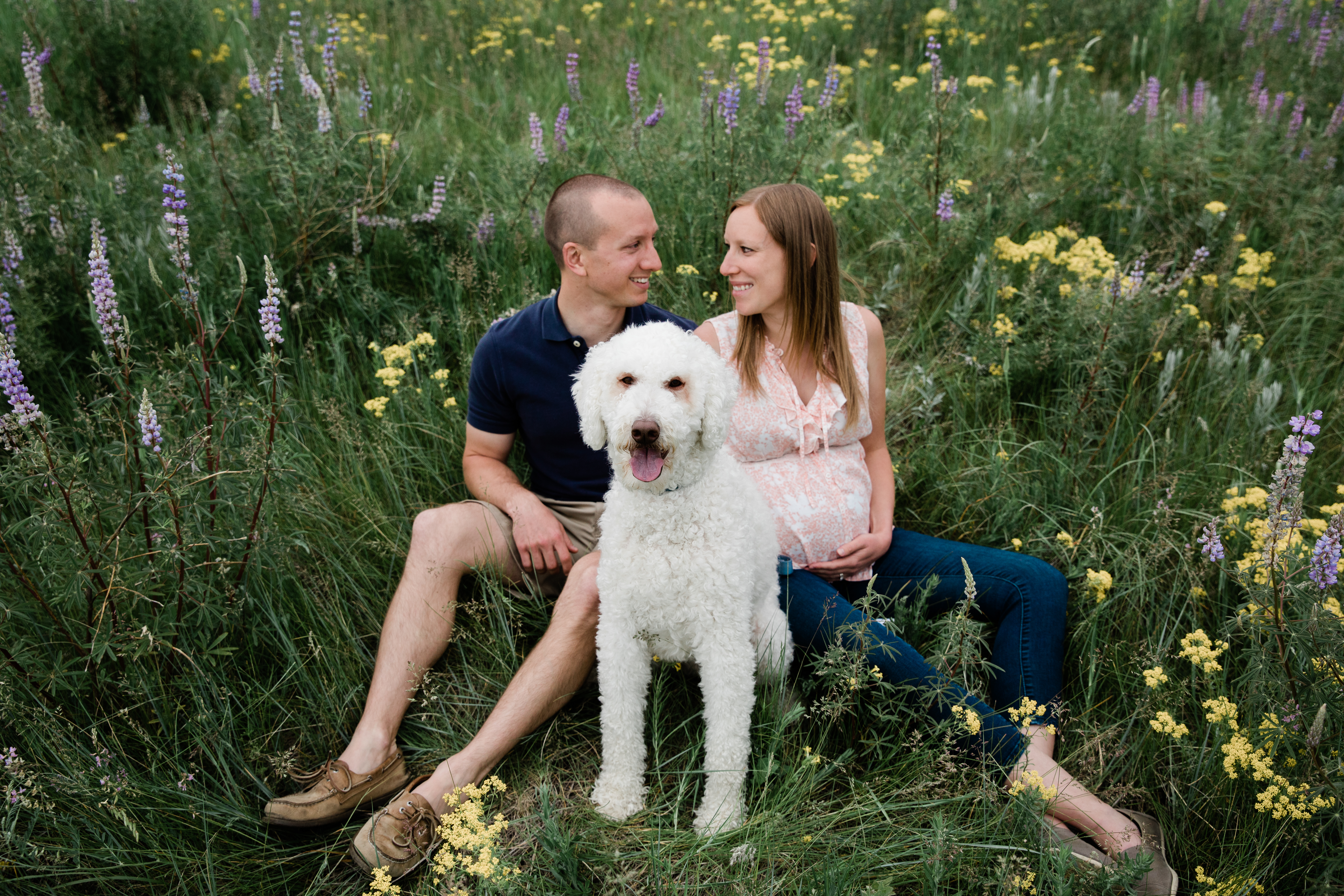 Maternity portraits couple posing during wildflower season in Colorado.